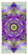 Purple Star Yantra Mandala Bath Towel