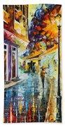 Quito Ecuador - Palette Knife Oil Painting On Canvas By Leonid Afremov Bath Towel