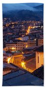 Quito Old Town At Night Bath Towel