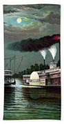Race Of The Steamers Robert E Lee And Natchez Hand Towel