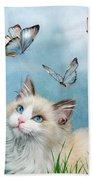 Ragdoll Kitty And Butterflies Bath Towel