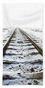 Railroad In Snow Bath Towel