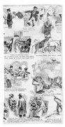 Railroading Cartoon, 1873 Bath Towel