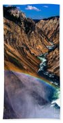 Rainbow At The Grand Canyon Yellowstone National Park Bath Towel
