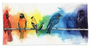 Rainbow Birds Bath Towel