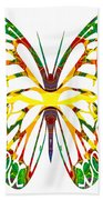 Rainbow Butterfly Abstract Nature Artwork Bath Towel