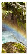 Rainbow In Avalanche Creek Canyon In Glacier National Park-montana Bath Towel