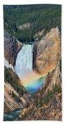 Rainbow On The Lower Falls Yellowstone National Park Bath Towel