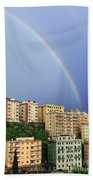 Rainbow Over The Town Hand Towel