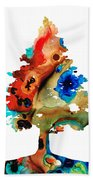 Rainbow Tree 2 - Colorful Abstract Tree Landscape Art Bath Towel