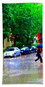 Rainy Days And Mondays Girl Running With The Blue Umbrella Montreal Art City Scenes Carole Spandau Bath Towel
