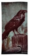 Raven Perched On A Post Bath Towel