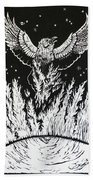 Raven Stealing Fire From The Sun - Woodcut Illustration For Corvidae Bath Towel