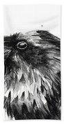 Raven Watercolor Portrait Bath Towel