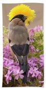 Rear View Of Female Bullfinch Standing Bath Towel