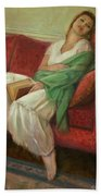 Reclining With Book Bath Towel