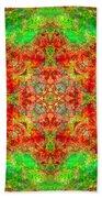 Red And Green Sun Mandala Bath Towel