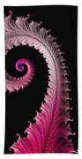 Red And Pink Fractal Spiral Bath Towel