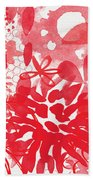 Red And White Bouquet- Abstract Floral Painting Bath Towel