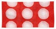 Red And White Shibori Circles Bath Towel