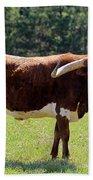 Red And White Texas Longhorn Bull Bath Towel