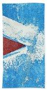 Red Arrow Painted On Blue Wall Bath Towel