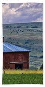 Red Barn And Barbed Wire Bath Towel