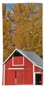 Red Barn And Fall Colors Bath Towel
