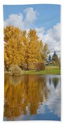 Red Barn And Fall Colors Reflected In A Pond Bath Towel