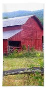 Red Barn And Rooster Bath Towel