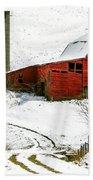 Red Barn In Snow Bath Towel
