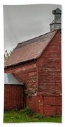 Red Barn With Fall Colors Bath Towel