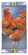 Red Baron Rooster Bath Towel