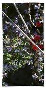 Red Berries And Violet Flowers Bath Towel