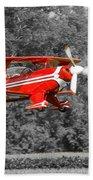 Red Biplane Bath Towel
