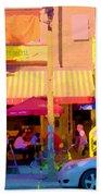 Red Bistro Umbrellas Cafe Cote Soleil Rue St Denis Yellow Staircase Montreal Scenes Carole Spandau Bath Towel