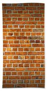 Red Brick Wall Texture With Vignette Bath Towel