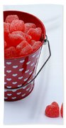 Red Bucket Of Hearts Bath Towel