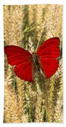Red Butterfly In The Tall Weeds Bath Towel