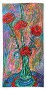 Red Carnation Melody Bath Towel