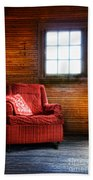Red Chair In Panelled Room Bath Towel