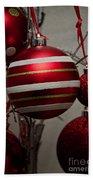 Red Christmas Balls Bath Towel