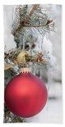 Red Christmas Ornament On Snowy Tree Bath Towel