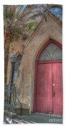 Red Church Door Bath Towel