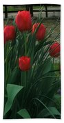 Red Dynasty Red Tulips Bath Towel