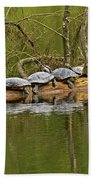 Red Eared Slider Turtles 2 Bath Towel