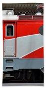 Red Electric Train Locomotive Bucharest Romania Bath Towel
