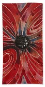 Red Flower 2 - Vibrant Red Floral Art Bath Towel