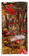 Red Flower Petals In Creek In Lower Palm Canyon In Indian Canyons Near Palm Springs-california Bath Towel