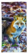 Red Fox At Home Hand Towel